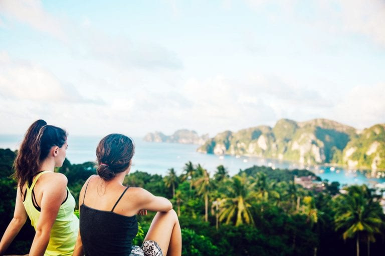 Two women overlooking hills and nature; bamboo underwear